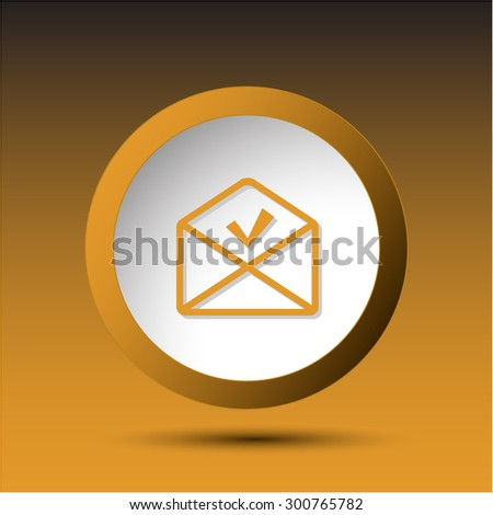 mail ok. Plastic button. Vector illustration. - stock vector