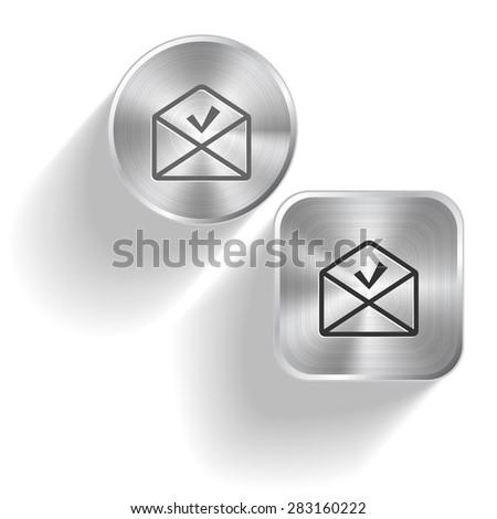 mail ok. Vector set steel buttons - stock vector