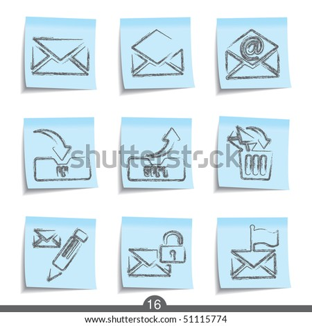 Mail post it icons from sries