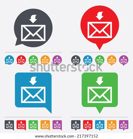 Mail receive icon. Envelope symbol. Get message sign. Mail navigation button. Speech bubbles information icons. 24 colored buttons. Vector - stock vector