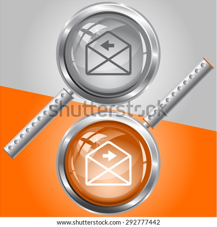 mail right arrow. Vector magnifying glass. - stock vector