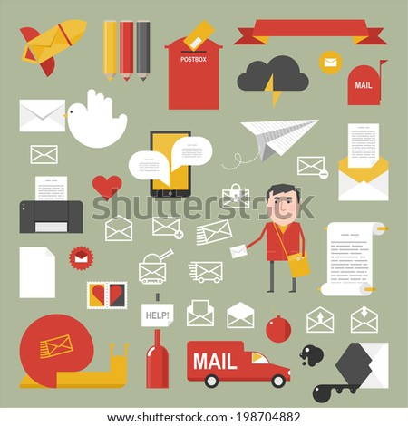 Mail set / flat style - stock vector