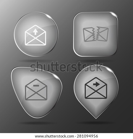 Mail set. Glass buttons. Vector illustration.  - stock vector
