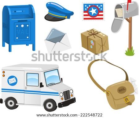 Mail Set, Post Box, Postal Stamp, Envelope, Package, Bag, Van. Vector illustration cartoon. - stock vector