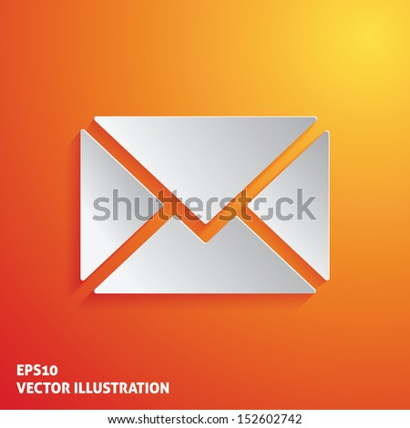 Mail white icon on orange background. Vector illustration - stock vector