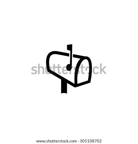 Mailbox. Black simple vector icon - stock vector