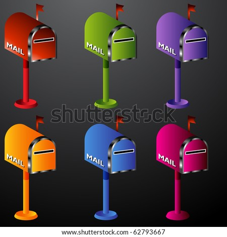 Mailbox Icon Set - stock vector
