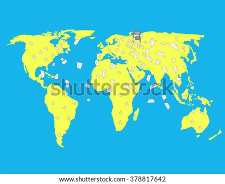 World map illustration vector borders stock vector 295149572 mailbox sends out letters on the world map on the world map is worth the gumiabroncs Choice Image