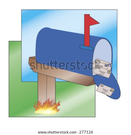 Mailbox with flag up. Letters can be seen inside. Wooden post is on fire. - stock vector