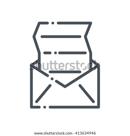Mailing icon suitable for info graphics, websites and print media and  interfaces. Hand drawn style, pixel perfect line vector icon. - stock vector