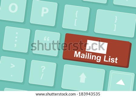 Mailing List Words Symbol On Keyboard Stock Vector 183943535