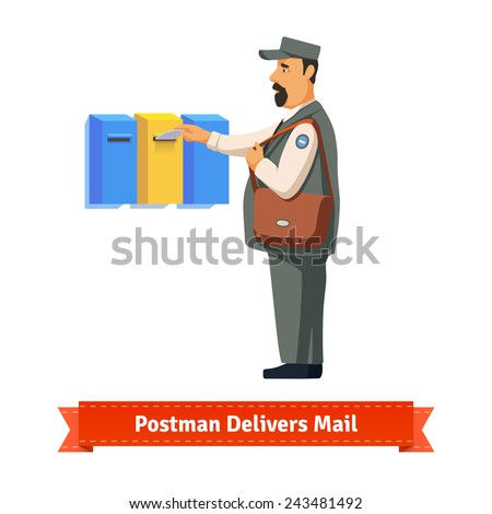 Mailman delivers a letter to a colorful mailbox. Flat style illustration.  - stock vector