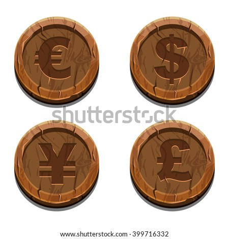 Main currencies symbols represented as wooden coins. Dollar, Euro, Pound and Yen - stock vector