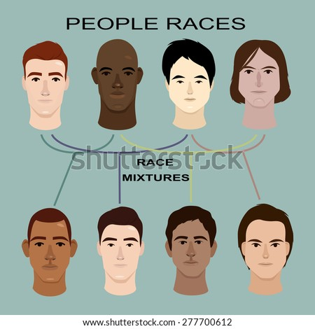 Main Human Racial line image design and mixture of races chart.  - stock vector