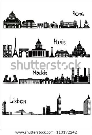 Main sights of four european capitals - Rome, Paris, Madrid and Lisbon, drawn in black and white style. - stock vector