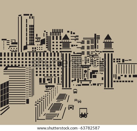 Main street in city.The big tower in the main street of the abstract city. Black and neutral kraft colored silhouette, graphic vector illustration. - stock vector