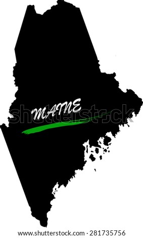 Maine map vector in black and white background, Maine map outlines in a new design - stock vector
