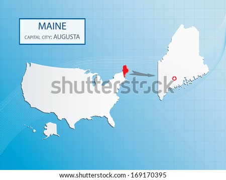 Maine Map Capital Augusta Marked Usa Stock Vector - Maine in usa map