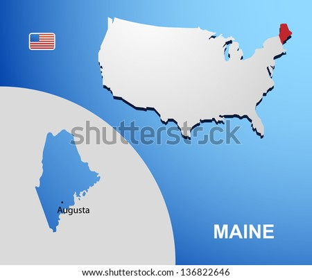 Maine on USA map with map of the state