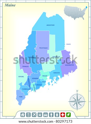 Maine State Map with Community Assistance and Activates Icons Original Illustration - stock vector