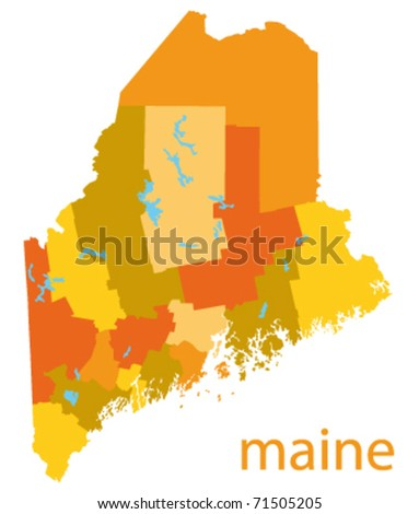maine state vector map - stock vector