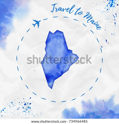 Maine Watercolor Us State Map Blue Stock Vector 734966485