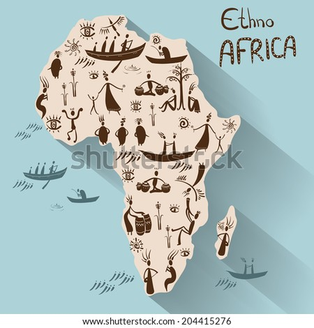 Mainland Africa in ethnic style, vector - stock vector