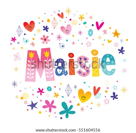 maisie girls name decorative lettering type design