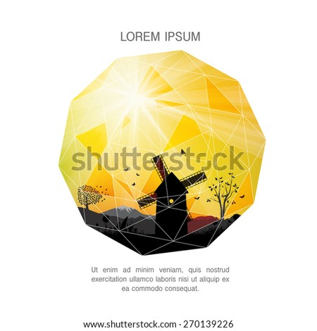 Majestic evening in the mountains landscape. Sunrise in country. Vector illustration. Perfect for covers, posters, web, presentations - stock vector