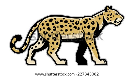 majestic leopard mascot - stock vector