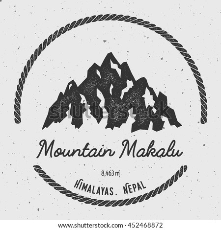 Makalu in Himalayas, Nepal outdoor adventure logo. Round hiking vector insignia. Climbing, trekking, hiking, mountaineering and other extreme activities logo template.