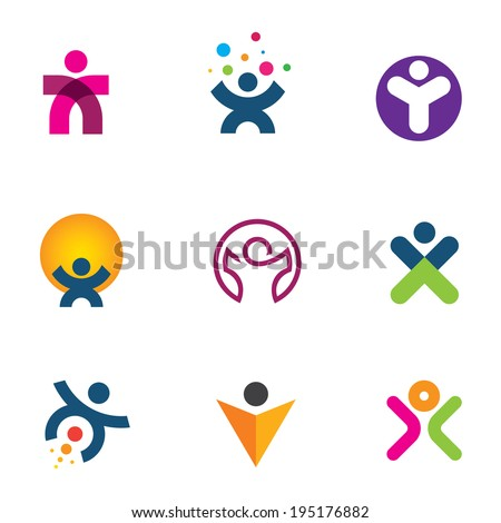Make impact creating innovation for fulfillment of human potential logo icon - stock vector
