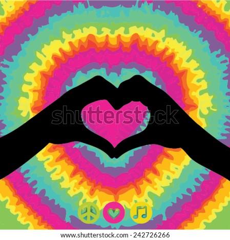 Make Love Not War - Hippie style. Vector Illustration - stock vector