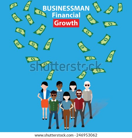 Make money, Businessman, business concept on blue background, clean vector - stock vector