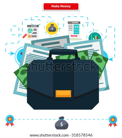 Make money concept. Briefcase with income. Cash investment, financial wealth, finance profit, growth rich, banking and income, currency and economy illustration - stock vector