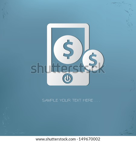 Make money on mobile phone symbol,vector - stock vector