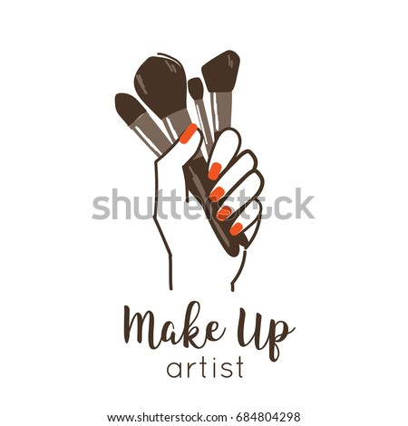 Make Up Artist Logo Template Line Style Vector Illustration Isolated On White Background