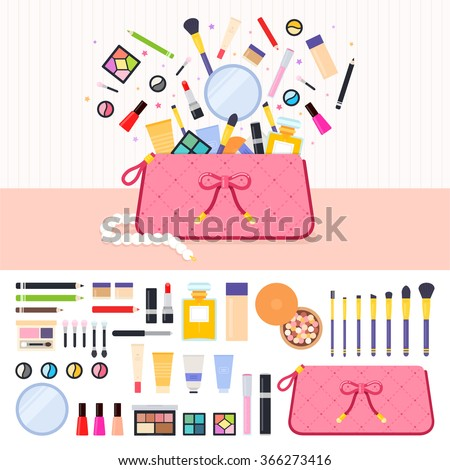 Make up bag vector flat illustrations. Woman's bag full of cosmetics. Beauty and make up concept. Lipstick, eyeshadow, parfume, powder isolated on white background - stock vector