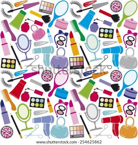 make up collection background (make up collection seamless pattern, beauty and makeup set, cosmetics set, cosmetic products background design) - stock vector