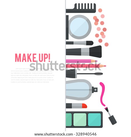 Make up concept vector flat illustration with cosmetics, makeup table, mirror, make-up brushes, perfume, nail polish and comb are laid out in row. Vertical concept design isolated on white background. - stock vector