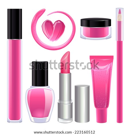 Make-up set for lips and nails. Lipstick, nail polish and lip gloss smudges. Glass pot with product. Pencil lip liner. Pink color. - stock vector