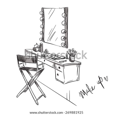Make Up Vanity Table Folding Chair Stock Vector 269881925 ...