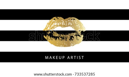 Makeup artist business card template fashion stock vector 733537285 makeup artist business card template fashion gold and glittering glamorous kissing shaped lips print on colourmoves