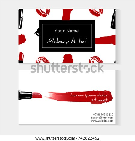 Makeup artist business card template red stock vector 742822462 makeup artist business card template red lipstick seamless pattern and red lipstick smear with accmission