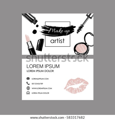 Makeup Artist Business Card Vector Template Stock Vector 2018