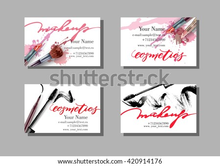 Makeup artist business card. Vector template with makeup items pattern - brush, pencil, eyeshadow, lipstick and mascara. Fashion and beauty background. Template Vector. - stock vector