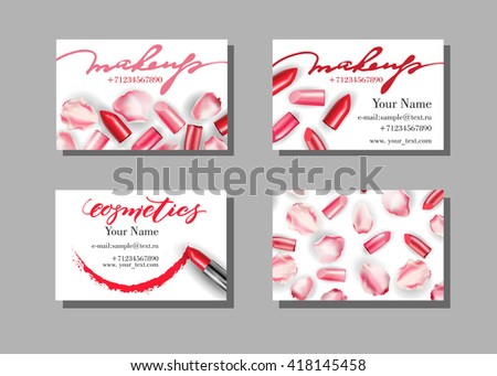 Makeup artist business card vector template stock vector 418145458 makeup artist business card vector template with makeup items pattern lipstick fashion and reheart Choice Image