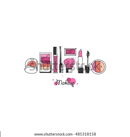 Makeup Artist Pattern Vector Template Design Stock 485318158