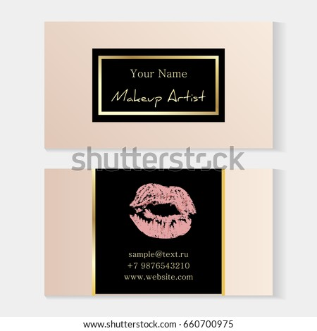 Makeup artist stylish business card artistic stock photo photo makeup artist stylish business card artistic templates with trace of a light pink lipstick reheart Image collections