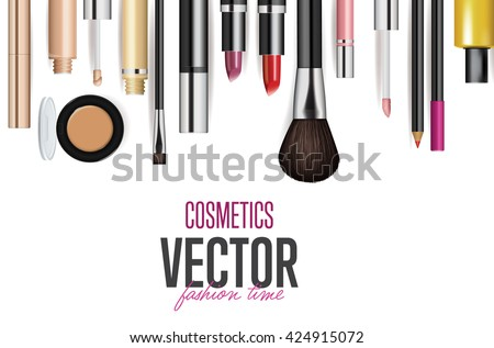 Makeup cosmetics tools background and beauty cosmetics. Isolated cosmetics products and facial cosmetics package lipstick, eyeshadow.